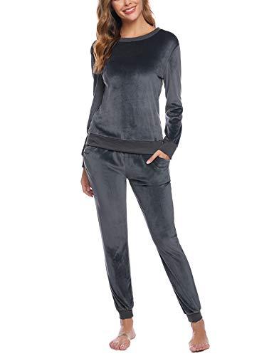 Hawiton Damen Velours Loungeanzug Zweiteiliger Pyjama Samtweicher Trainingsanzug Nicky-Freizeitanzug Sportanzug Rundhals-Shirt und Samt-Hose für Winter, Grau, XL