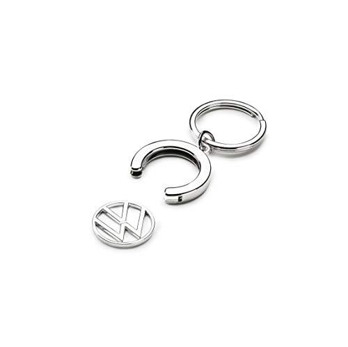 Volkswagen 000087010BT Schlüsselanhänger Pfandchip Einkaufswagenchip Keyring Anhänger, mit neuem VW Logo, Silber