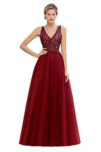 MisShow Damen elegant V Ausschnitt Pailletten Abendkleider Ballkleider Abschlusskleider Maxilang Weinrot 32