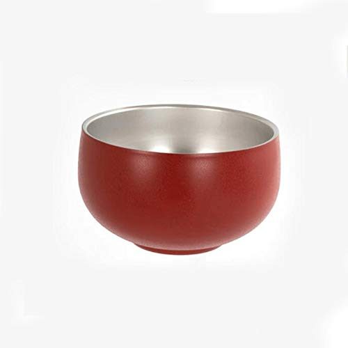YUZZZKUNHCZw Bowls, Stainless Steel Household Rice Bowl 13 * 8cm Personality Double Layer Thermal Insulation Bowl Anti-fall Bowl Dinnerware Restaurant Anti-cracking Rice Bowl (Color : Red)