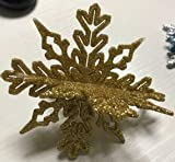 Naler 24 Adornos Plásticos de Copo de Nieve para Decoración de Árboles de Navidad Colgantes con Purpurina Dorado Plateado