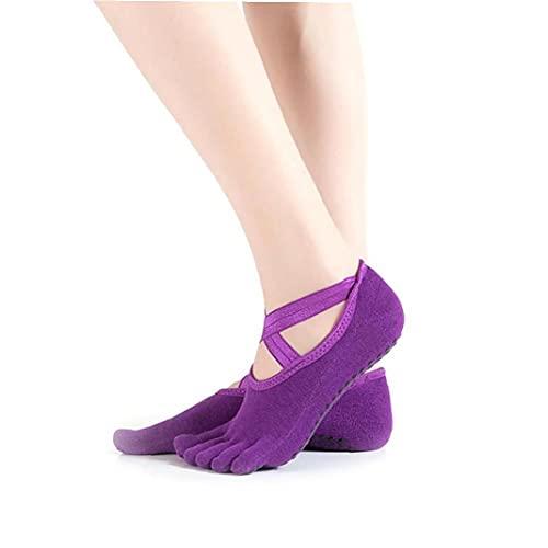 Ruluti Mujeres Niñas Antideslizante de algodón Yoga Aptitud Calcetines Calcetines para Pilates Danza Ballet Barre (púrpura Oscura)