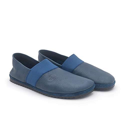 Apache Marino 40 EU - Zapato mocasín cómodo - Piel ecológica - Muy Ligeros y Flexibles - Pies delicados - Calzado antialérgico - Ancho Especial - Unisex - Hombre y Mujer