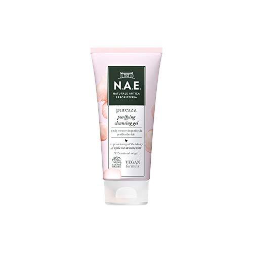 N.A.E. Gel Detergente Viso Purificante Purezza, con Acqua di Rosa Damascena Biologica, Formula Vegana, 150 ml