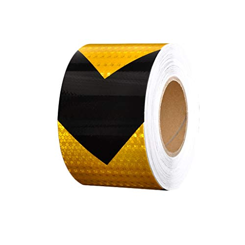 Reflecterende tape sticker - waarschuwing tape reflector tape auto nacht verkeer licht pijl waarschuwing teken sticker voorzijde bumper fiets tape L35m×w10cm Orange black