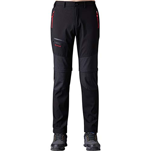 Pantaloni Trekking Uomo Asciugatura Rapida Traspiranti Impermeabile Softshell Zip off Pantaloni da Montagna Arrampicata Escursionismo Outdoor (Nero-2, Large)