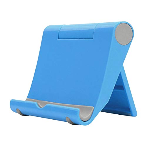 happysdh Tablet Stand Adjustable Desk Mobile Phone Holder Foldable Portable Video for online learning, work at home and office (Blue)