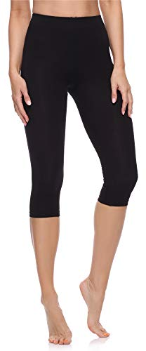 Merry Style Leggings 3/4 Pantaloni Capri Donna MS10-199 (Nero, L)