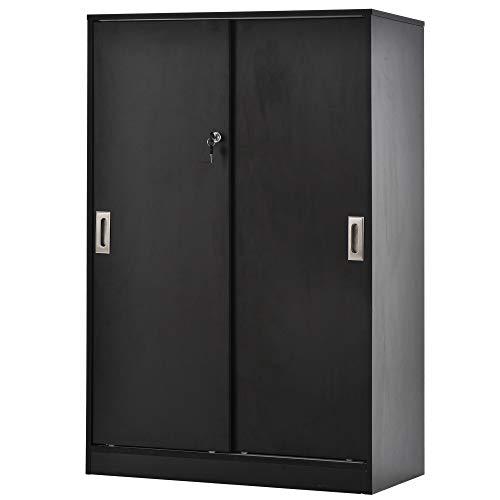 HOMCOM Aktenschrank, Büroschrank, Bürocontainer mit 3 Regal, 2 Aufbewahrungsschränke mit Türen, E1 Spanplatte,Schwarz, 80 x 40 x 120 cm