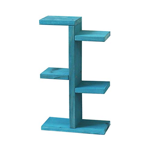 SOOFYLIA Wooden Mini Tabletop Plant Stand 3 Tier 6 Flower Pots Concise Desktop Planter Holder Storage Shelf Rack for Home Office Kitchen Indoor & Outdoor Room Decor Vintage Blue