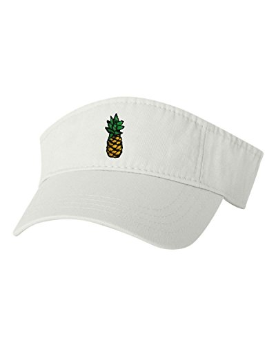 Go All Out Adjustable White Adult Pineapple Embroidered Visor Dad Hat