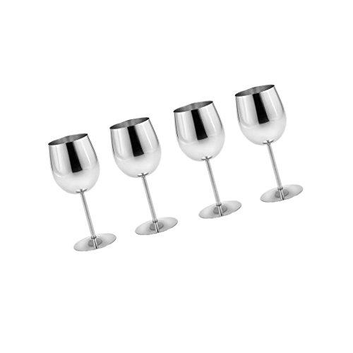 Fenteer 4/6 Stück Edelstahl Weingläser Set Goblets Sektgläser Weinkelche bruchsichere Champagner Cocktail Gläser aus Metall - Silber, 4 Stück