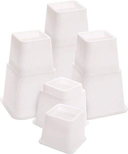 Möbelerhöher höhenverstellbar (3 Verschiedene Höhen) Betterhöhung Möbelerhöhung Tischerhöher Elefantenfuß Bed Riser 8St. (4 hohe + 4 Kurze) für Füße bis 68x68 mm (Weiß)