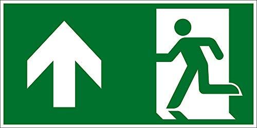 Fluchtwegschild - Rettungsweg geradeaus/Links Oben - Folie Selbstklebend - 10 x 20 cm
