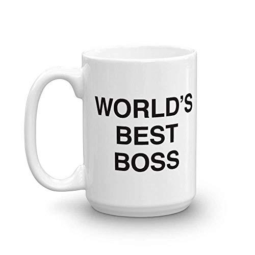 The Office World's Best Boss Dunder Mifflin Ceramic Mug, White 15 oz -...