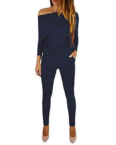 YOINS Jumpsuit Damen Elegant Langarmshirt Damen Overall Off Shoulder Strand Romper Lang Einfarbig A-dunkelblau XL