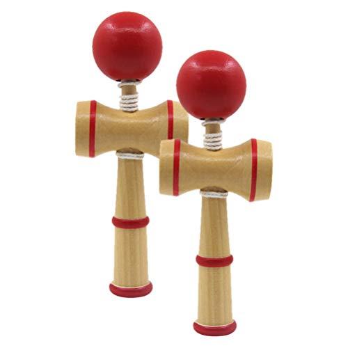 Wakauto 2 Peças Kendama de Madeira de Brinquedo Japonês E Bola Pegar a Bola Do Jogo Kadoma No Jogo da Copa para O Jogo de Construção de Habilidade