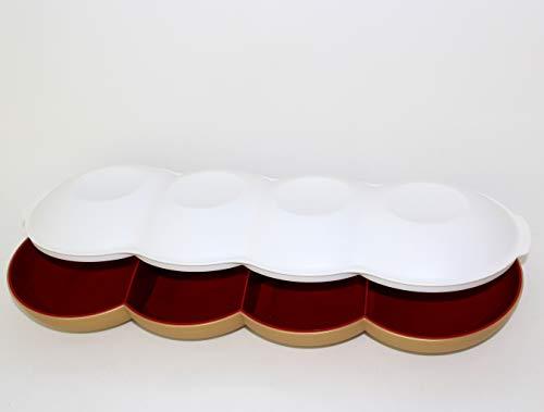Tupperware Allegra Perle rot Gold mit Deckel weiß Schale Servierschale Servierquartett