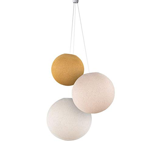 Suspension 3 globes moutarde-lin-écru