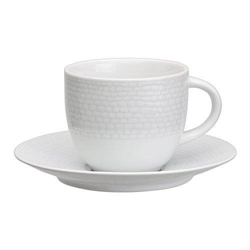 Avet Spain Juego de Tazas para Té con Plato, Gres, Blanco, 8.8x8.8x7.51 cm, 6 Unidades
