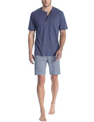Calida Herren Relax Streamline 1 Zweiteiliger Schlafanzug, Blau (Mountain Blue 448), X-Large