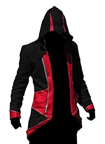 Agaruu Assasin Creed 3 - Chaqueta con capucha para hombre rojo/negro S