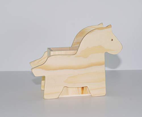 takestop® Sun_2889 Pennenhouder van hout paard van SCRIVANIA 14 x 7,5 x 8,5 cm pennenhouder voor kantoor CANCELLERIA SCRIVANIA