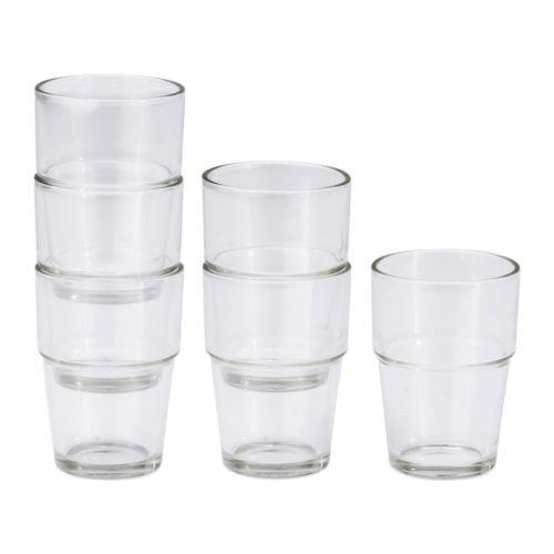 Ikea REKO, Klarglas-6-er Set-Stapelbar-170 ml-9 cm hoch-Spülmaschinenfest, Glas, Transparant, 18 x 14 x 7 cm, 6-Einheiten