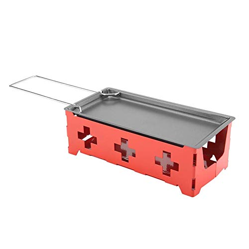 HERCHR Mini Raclette Set, Rotaster Backblech Herd, Teelicht-Raclette, Mini Raclette Faltbares, Antihaft-Käse Tragbare Küche Grillen Werkzeug - Teelichter Rot