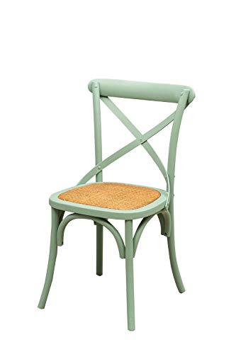 Biscottini Stuhl Thonet aus massivem Eschenholz und Rattan-Sitzfläche mit hellblauer Oberfläche L48 x PR52 x H88 cm