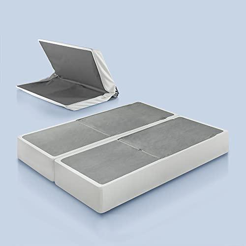 Zinus Jayanna 9 Inch BiFold Box Spring / Mattress Foundation / Zero Assembly / Sturdy Metal Structure / High Profile, Split King