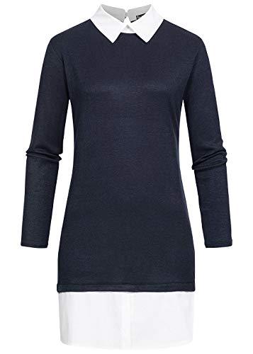 Styleboom Fashion® Damen Business Dress Blusen Kleid 2in1 Optik Navy blau Weiss, Gr:L