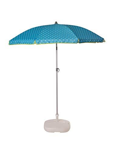 EZPELETA Sonnenschirm zum Neigen für Strand, Terrasse und den Garten, faltbar und tragbar, Sonnenschutz UPF 50+, 165cm, bedruckter Stoff, Sandspitze, Tragetasche inklusive (Tupfen-Blau)