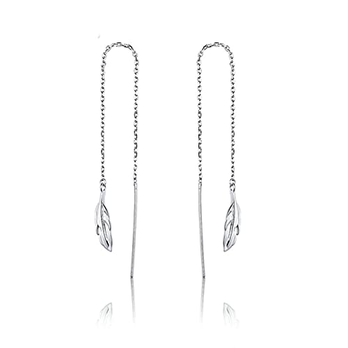 TLBB BamOer Sterling Silver 925 Pendientes de Cadena Larga para Las Mujeres Pluma Dulce Earings Pendientes de Lujo AccessRies SCE786