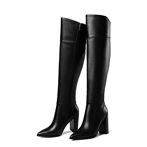 Brand Shoes high Heels Leather Cowboy Women Dress Shoes Autumn Winter Boots Woman Pointed Toe Runways Winter Snow Boot,Black,42