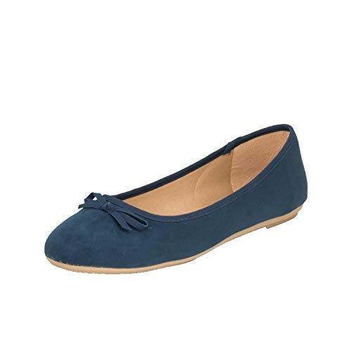 Fitters Footwear That Fits Damen Ballerina Helen Microfibre modische Basic Ballerinas mit Schleife Übergröße (45 EU, dunkelblau)