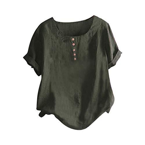 TAMALLU Damen T-Shirt Modische Gedruckt Baumwolle Leinen Rundkragen Kurzarm Wild Tee(Grün,4XL)