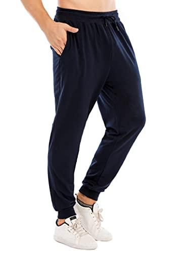 CMTOP Pantalones de Chándal de Algodón para Hombre Cintura Elástica Ajustable Pantalones Deportivos para Correr Gimnasio Fitness Jogging con Bolsillos