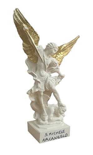 Eurofusioni San Michele Arcangelo Piccola Statua - Figura Bianca con Corona, Spada e Ali Dorate dipinte a Mano - Statuetta h 21 cm