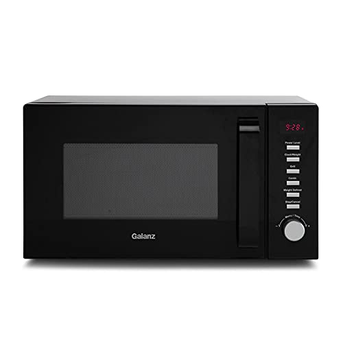 Galanz 20L 800W Microwave Oven with Grill, 9 Auto Cook Menus, Compact Digital Countertop Microwave with 11 Power Levels, Automatic Defrost, MWUK001B Black