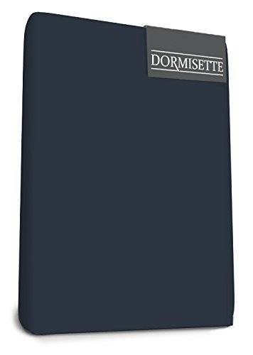Slaapmode Dormisette Mako Jersey Elastaan Split Topper Hoeslaken 180 X 200/220 cm Marineblauw, Satijn, Koning