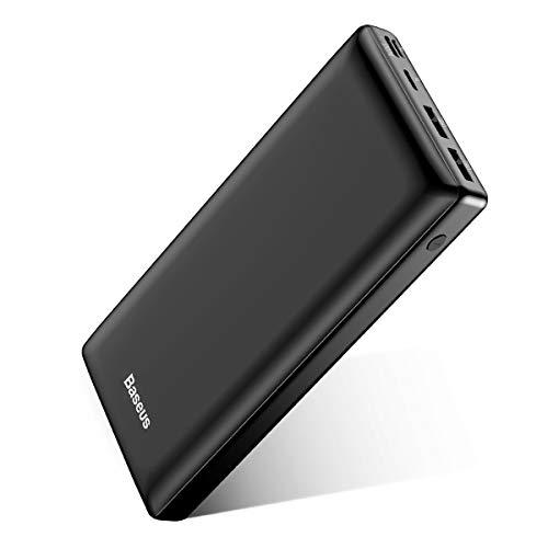 Baseus Batterie Externe 30000mAh Power Bank USB C Chargeur Rapide pour iPhone 11 Pro X XS 8 Plus, iPad, Mac, Charge Standard pour Samsung Galaxy S10 + S9 Note 10 +, Huawei - Noir