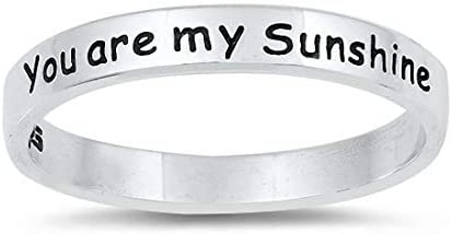 Blue Apple Co 2 5mm You are My Sunshine Band Ring 925 Sterling Silver Size 7 product image