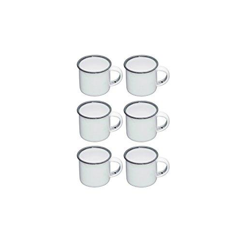 Kitchen Craft Emaille Espresso Tassen, Emailliert, weiß/grau, 7.5 x 5.8 x 5 cm, 6