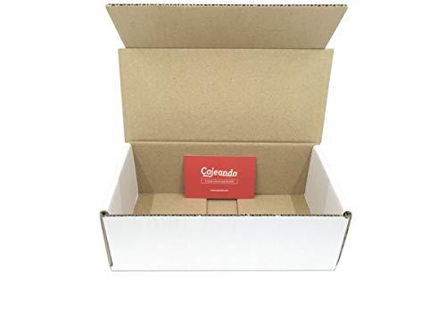Pack de 50 Cajas de Cartón Automontables en Canal Simple y Color Blanco. Para Mudanzas y Envíos. Alta Calidad y Resistentes. Tamaño 21 x 10 x 7 cm. VARIOS PACKS. Fabricadas en España. Cajeando