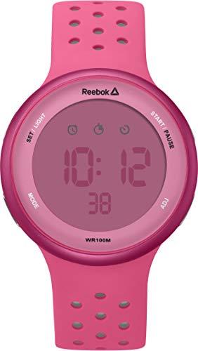 REEBOK Elements Pink Reloj unisex, caja de 43.5mm, cara rosa, caja ABS, correa de silicona rosa, esfera rosa (RD-ELE-G9-PPIP-PW)