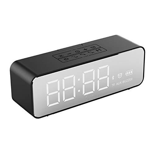 LZJZ Altavoz Bluetooth Radio Despertador LED Super Bass Dormitorio de Escritorio Dormitorio en casa Reloj Despertador Doble