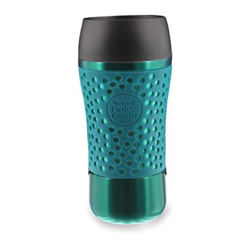 NESCAFÉ Dolce Gusto Thermobecher Pop mit Deckel, Coffee to Go Thermo Becher, Travel Mug, Kunststoff, Metallic-Petrol/Schwarz, 310 ml, 12380858
