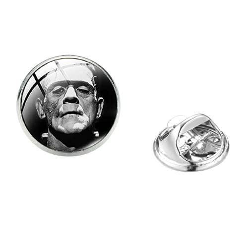 Clásico Ciencia ficción Frankenstein Pin de acero inoxidable Novia de Frankenstein Art Photo Glass Dome Icono camisa solapa Pin