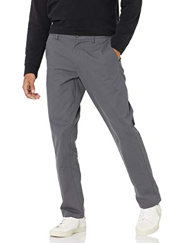 Amazon Essentials Men's Slim-Fit Wrinkle-Resistant Flat-Front Chino Pant, Grey, 32W x 30L